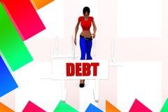 3d women debt illustration Stock Image