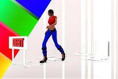 3d women debt illustration Royalty Free Stock Photos