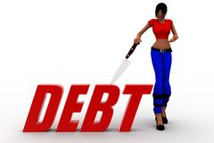 3d women debt illustration Stock Photo