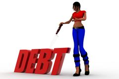 3d women debt illustration Stock Photography