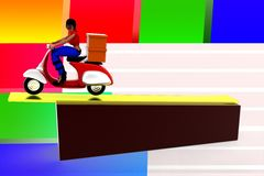 3d women delivering cargo illustration Royalty Free Stock Photos
