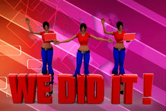 3d women we did it illustration Royalty Free Stock Photo