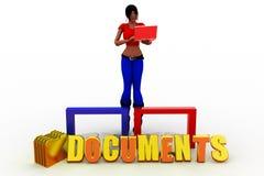 3d women documents concept Stock Image