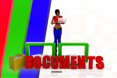 3d women documents illustration Royalty Free Stock Photography