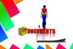 3d women documents illustration Stock Photography