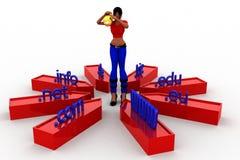 3d women domain names illustration Stock Images