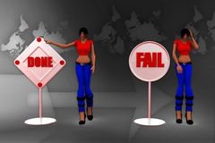 3d women done fail illustration Stock Images