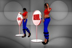 3d women done fail illustration Stock Photo