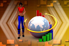 3d women Earth Bar Graph illustration Royalty Free Stock Images