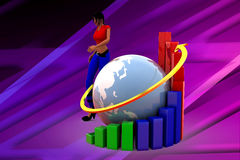 3d women Earth Bar Graph illustration Royalty Free Stock Photos