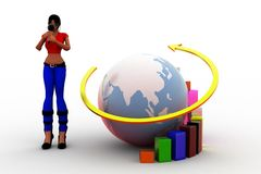 3d women earth graph concept Royalty Free Stock Photography
