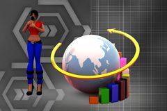 3d women earth graph illustration Stock Images