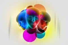 3d women face stock illustration