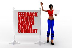 3d women feedback opinion answers review comment concept Royalty Free Stock Photos