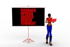 3d women feedback opinion answers review comment concept Royalty Free Stock Photography