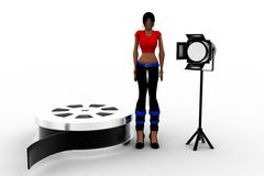 3d women film reel and studio light Stock Photos