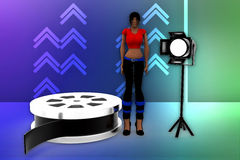 3d women film reel and studio light illustration Royalty Free Stock Photo