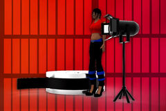 3d women film reel and studio light illustration Royalty Free Stock Photos