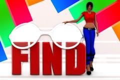 3D women find illustration Stock Photo