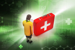 3d women with first aid box. In color background Stock Photos