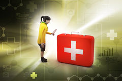 3d women with first aid box. In color background Royalty Free Stock Photography