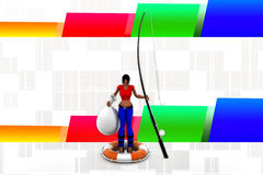 3d women with fishing rod illustration Royalty Free Stock Photo