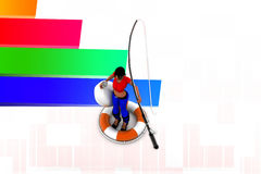 3d women with fishing rod illustration Stock Images