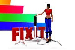 3d women Fix It illustration Royalty Free Stock Images