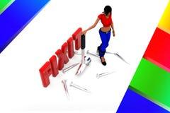 3d women Fix It illustration Royalty Free Stock Photo