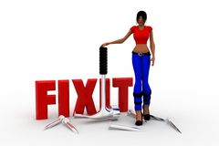 3d women Fix It Royalty Free Stock Image
