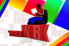 3d Women  Focus Work Illustration Royalty Free Stock Photography