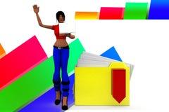 3d women folder download illustration Stock Image