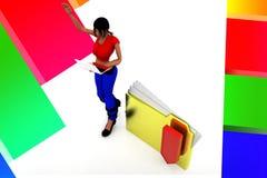 3d women folder download illustration Stock Photo