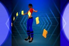 3d Women folder file transfer illustration Stock Photography