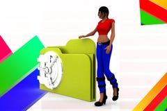 3d women folder locked illustration Stock Image
