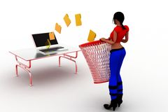 3d women folder recycling Stock Photo