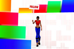 3d Women Follow Illustration Royalty Free Stock Photography