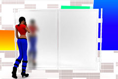 3d women in front of closed door Illustration Stock Images