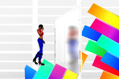 3d women in front of closed door Illustration Stock Image