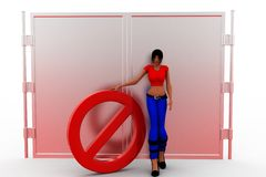 3d women in front of closed door illustration Royalty Free Stock Image