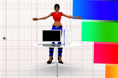 3d women in front of computer illustration Stock Photography