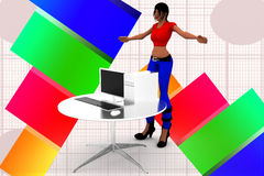 3d women in front of computer illustration Royalty Free Stock Images