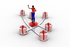 3d women and gift box Royalty Free Stock Photos