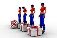 3d women and gift box Royalty Free Stock Photography
