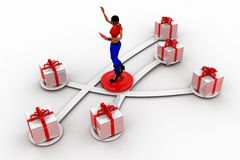 3d women and gift box Stock Image