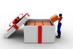 3d Women Gift box over white background Stock Photos