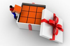 3d Women Gift box over white background Royalty Free Stock Images