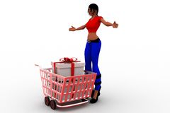 3d women gift in cart Royalty Free Stock Photos