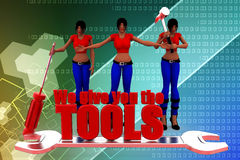 3d Women We give you the tools with  a leather bag illustration Stock Images