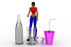 3d Women glass and bottle Royalty Free Stock Photo